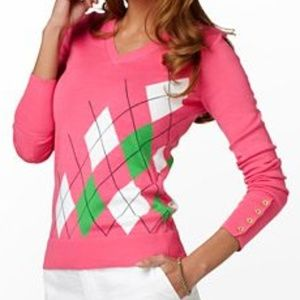 Lilly Pulitzer Patricia Argyle V-Neck Sweater